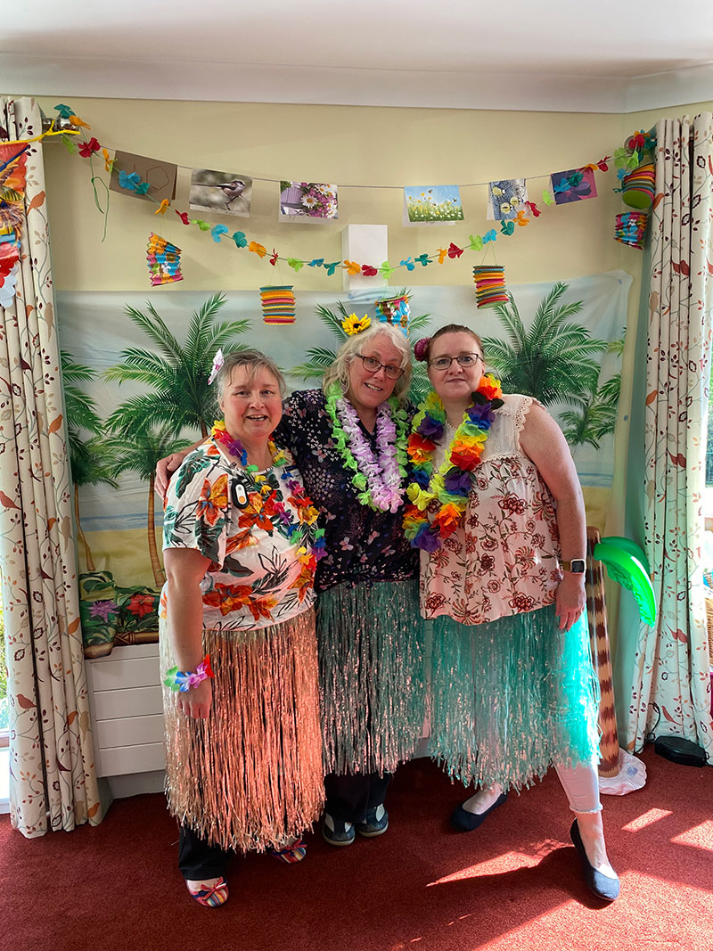 Staff at Cornford House on Tropical Fun Day