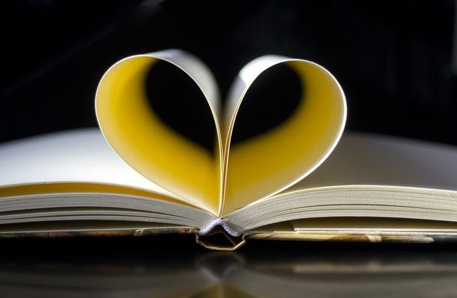 Pages in a book that form a heart shape