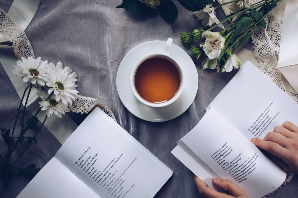 Poetry books and tea